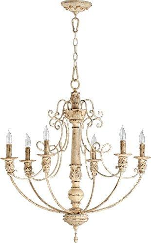 Quorum International 6106-6-70 Salento 6 Light Chandelier, 27″, 28.02″ x 12.11″ x 26.12″, Persian White