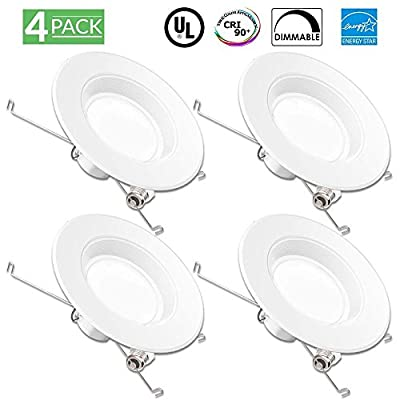 Sunco Lighting 4 Pack 5/6 Inch Baffle Recessed Retrofit Kit Dimmable LED Light, 13W (75W Replacement), 4000K Kelvin Cool White, Quick/Easy Can Install, 960 Lumen, Damp Rated