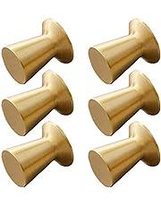6 stuks enkele gat meubels trekgrepen, gouden messing lade knoppen, kleine ronde kast knoppen, gouden lade knoppen, voor kasten, kast deuren, dressoir lade, woondecoratie