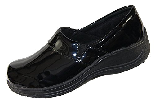 - Laforst Rachel 7003 Womens Work Slip Resistant Slip On Clogs Black Patent 8.5