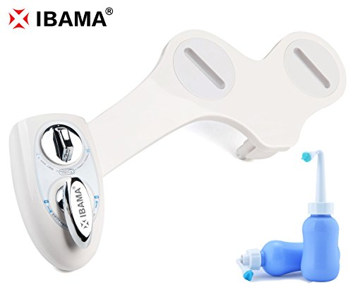 good IBAMA Non-Electric Mechanical Water Toilet Seat Attachable Bidet- Dual Nozzle (Male & Female) Adjustable Water Pressure Self Cleaning and Free Handheld Bidet