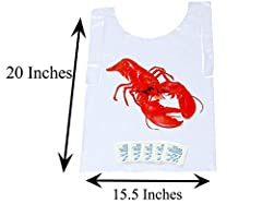 FUN WAY TO PROTECT YOUR CLOTHING. - Protect your clothing with these high quality, restaurant style, poly bibs.         PERFECT SIZE 15.5 INCHES WIDE BY 20 INCHES LONG. - These poly shrimp bibs are perfect size for adults, but...