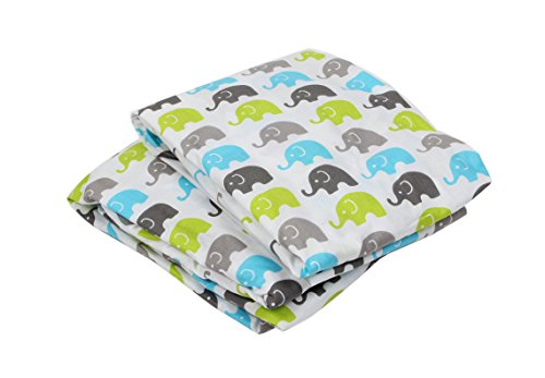 (Bacati - Elephants Aqua/Lime/Grey Mini Elephants 2 pack Crib Fitted Sheet)