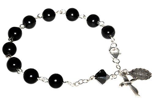 Womens Rosary Bracelet made with Black Onyx Gemstones and Swarovski Crystal Element