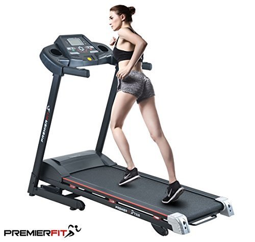 PremierFit T330 - Motorised Electric Treadmill/Folding Running Machine with 20-Level Automatic Incline - Heart Rate Monitor, AUX/USB/SD Inputs and Speakers - 4.5HP Motor with LIFETIME WARRANTY