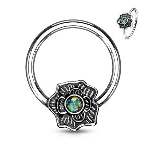MoBody Opal Glitter Flower Captive Bead Ring 16G Surgical Steel Nose Ring Septum Body Piercing Hoop (Dark Green)