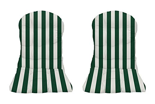 RSH Decor - Indoor/Outdoor Tufted Adirondack Chair Seat Cushion Made with Hunter Green & White Cabana Stripe Fabric