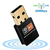 USB WiFi Adapter, Aigital 600Mpbs Dual Band 5.8 GHz/2.4GHz Mini Wireless Network Card Adapter Wi-Fi Dongle Signal Receiver Booster for Win7/8/10/XP/Vista Mac and More