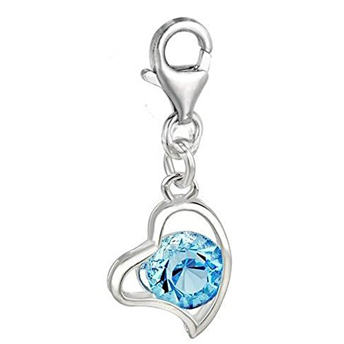 (SEXY SPARKLES Clip on March Birthstone Charm Pendant for European Jewelry with Lobster Clasp )