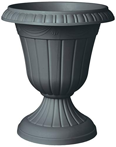 (Arcadia Garden Products PL20GY Classic Traditional Plastic Urn Planter Indoor/Outdoor, 10 x 12 inches, Gray)