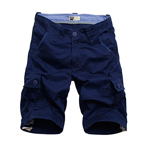Flora Florida Men's Cargo Shorts Cotton Pocket Loose Fit Short Pants (36/Waist 36'', Dark Blue) ()