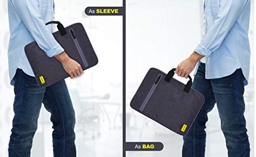Alifiya Polyester Laptop Sleeve Cover Bag 15.6 inch for MacBook / Lenovo / Dell / Surface Pro / Asus / HP / Acer ( Grey_L22, 180 Degree Opening)