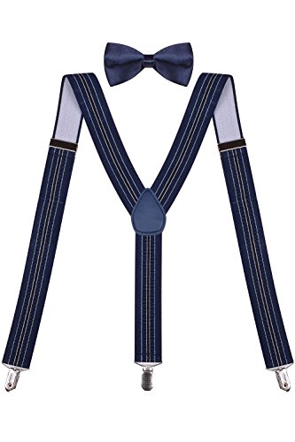 [Mens Navy Bow Tie and Suspender Stylish Suspenders Navy Silk Bow Tie Navy Stripe] (1950s Male Costume Ideas)