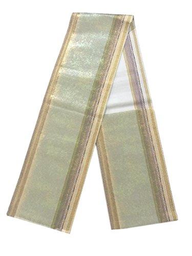 裏切り者魅惑的な幻滅するリサイクル 袋帯 縞模様 引箔 正絹 六通