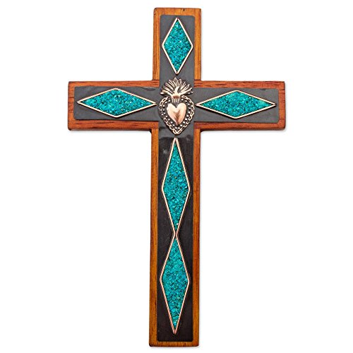 NOVICA Green Blue Wooden Wall Cross with Chrysocolla Copper and Bronze, Chrysocolla Cross'