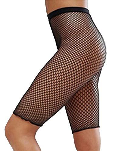 YiZYiF Womens 3/4 Length Fishnet Mesh See Through Slim Fit Leggings Short Half Pants Black B One Size
