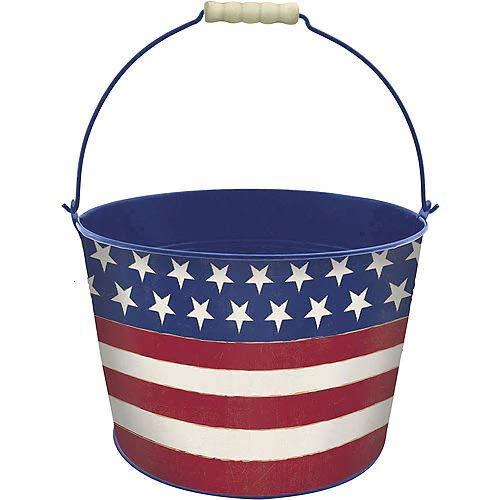 HollyDel Patriotic American Flag Metal Bucket - Rustic Americana Fourth of July Party Favors