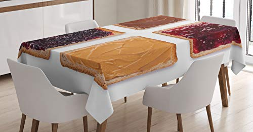 Ambesonne Peanut Butter Tablecloth, Toasts with Chocolate Jam and Peanut Butter Traditional School Breakfast, Dining Room Kitchen Rectangular Table Cover, 60 W X 84 L Inches, Brown Raspberry