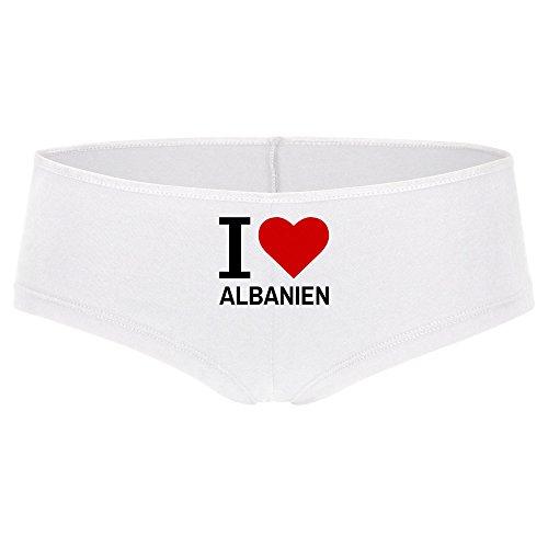 Panty Classic I Love Albanien weiß Damen Gr. S bis XL