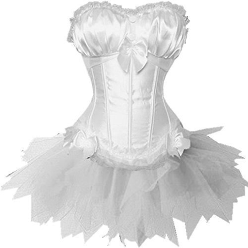 Vacodo Women's White Overbust Corset Top and Layered Mini Skirt Tutu Dress Set S