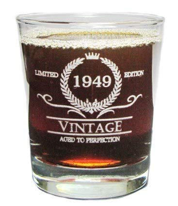 Vintage 1949 Special Edition Aged To Perfection - 70th Birthday - Engraved Hi-Ball Rocks Glass - 13 Oz - Permanently Etched - Fun & Unique Gift! (Perfection Highball)