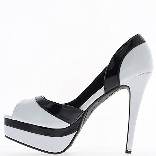 Tamaño grande de zapatos blanco y negro del clavo 14cm y los tacones de plataforma