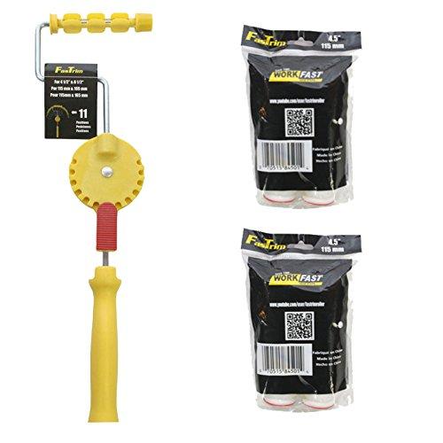 (FasTrim Paint Roller, Edger, Starter Kit, 5 Piece, 11 Position Adjustable Handle, 10mm Fiber Roller Cover)
