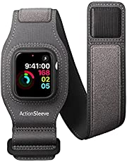 Twelve South ActionSleeve for Apple Watch 44mm | Armband to Free Your Wrist for use During Yoga, Cross-fit, Boxing, Cycling (Grey)