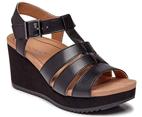 (Vionic Women's Hoola Tawny T-Strap Wedge - Ladies Platform Sandal with Concealed Orthotic Arch Support Black Leather 7 W US)