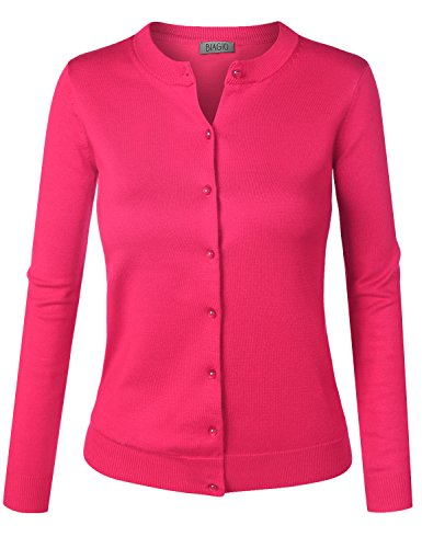 BIADANI Women Pearl Button Down Long Sleeve Soft Knit Cardigan Sweater Magenta XX-Large