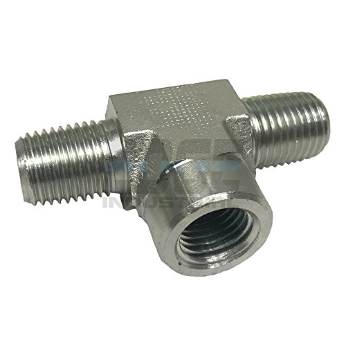 "EDGE INDUSTRIAL Steel Female Branch TEE 1/4"" MNPT x 1/4"" FNPT HYDRUALIC/Fuel / AIR/Water / Oil/Gas / WOG"