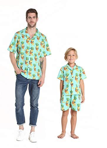 (Matching Father Son Hawaiian Luau Outfit Men Shirt Boy Shirt Shorts Halloween Pineapple Skull)