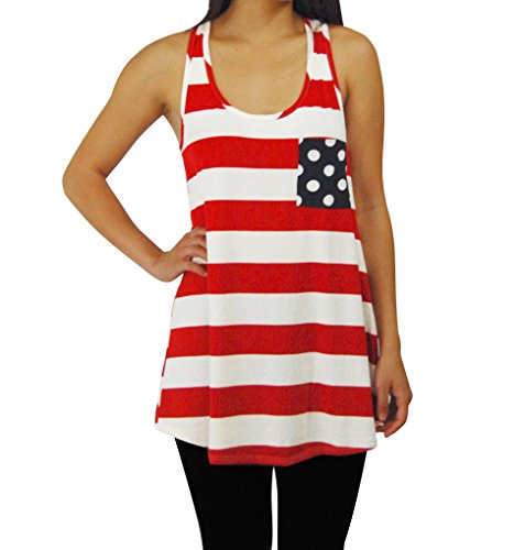 Zoozie LA Women's American Flag Tank Top and USA Patriotic T-Shirts