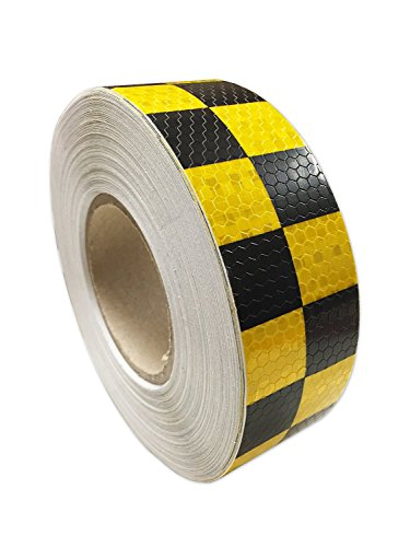 "PerfecTech 2""x 118"" Traffic Multi Color Grid Design Conspicuity Reflective Safety Warning Tape Film Stickers Stripe for Truck Car Motorcycle Guardrail Garage (Yellow-Black)"