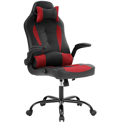 Gaming Chair Ergonomic High-Back Racing Style Office Chair Adjustable Headrest Lumbar Support Executive Computer Chair, PU Leather Swivel Desk Chair red