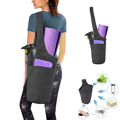 Auflyee Yoga Mat Bag with Large Side Pocket & Zipper Pockets, Yoga Mat Carrier for Men and Women,Fits Most Size Mats,Great Gift for Mother's Day