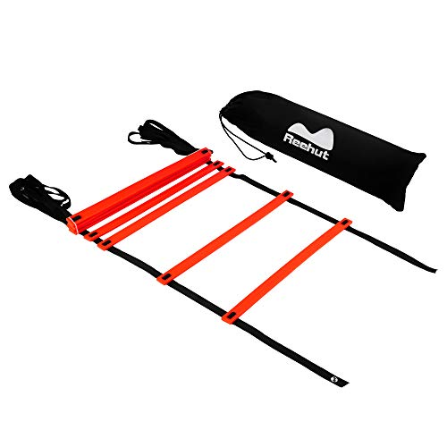REEHUTAgilityLadderw/FreeUserE-Book+CarryBag-SpeedTrainingEquipment (Red, 8 Rungs)