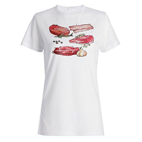 Carne De Carne Pintada A Mano camiseta de las mujeres m759f