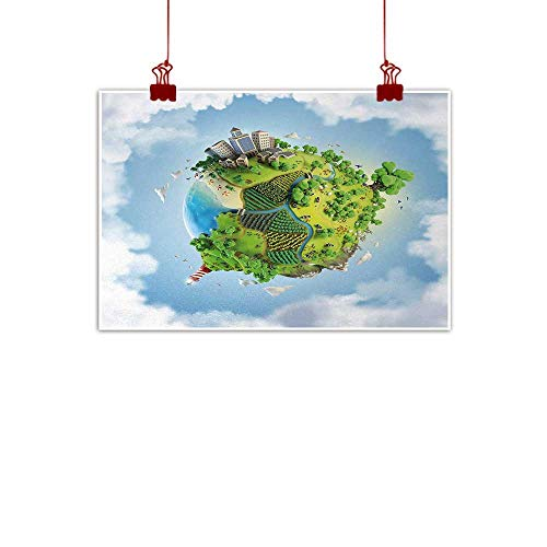 Fabric Cloth Rolled World,Cartoon Style Globe with Greenery Peaceful Idyllic Country Cloudy Sky,Green Pale Blue White 28