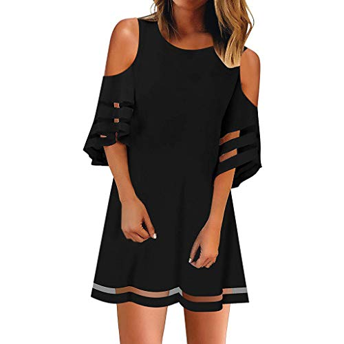 Mysky Women Summer Elegant Cold Shoulder Swing Mini Dress Ladies Casual Bell Sleeve Loose Mesh Panel Blouse Dress Black