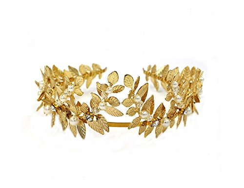 OUMOU Greek/Roman Gold Leaf Crown Headpiece – Bridal Wedding Headband -