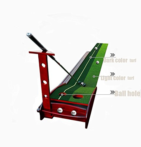 Honghetai Premium Wooden Putting Green Indoor Outdoor Golf, Golf Putting Mat Convenient Indoor Practice Training Aid Mat with Two Holes Ball Return System by Honghetai (Image #9)