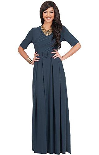 06f672e973e KOH KOH Plus Size Womens Long Half Short Sleeve Belt Flowy Wedding Party  Elegant Evening Work Formal Casual Modest Floor Length Vintage Gown Gowns  Maxi ...