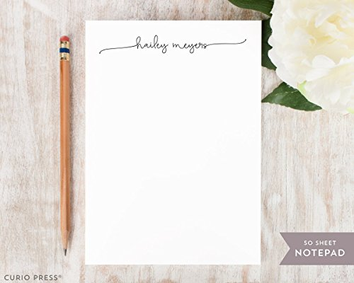 (SWASH SCRIPT NOTEPAD - Personalized Elegant Stationery/Stationary 5x7 or 8x10 Note Pad)
