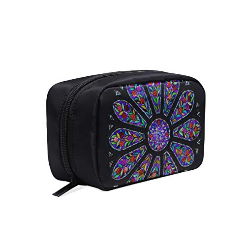 Rosette Stained Glass Window Portable Travel Makeup Cosmetic Bags Organizer Multifunction Case Small Toiletry Bags For Women And Men Brushes Case