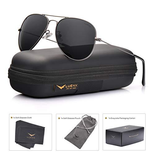 0d19623e14 LUENX Aviator Sunglasses Mens Womens Polarized with Case - UV 400 Non  Mirror Grey Lens Black