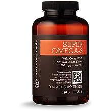 Amazon Elements Super Omega-3, Natural Lemon Flavor, 1280 mg per serving, 120 Softgels, 2 month supply