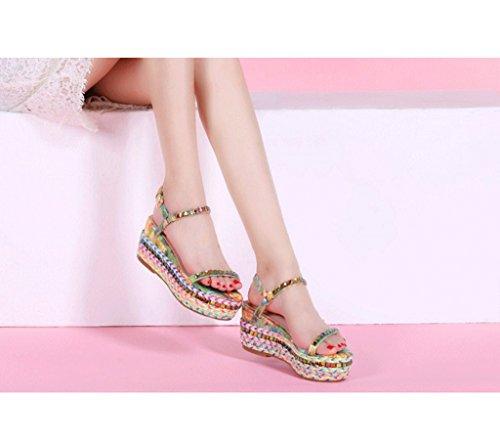 Farbe Mehrfarbig 36 Sandals Lady Ankle Dicke Wedges Geflochtene Sandalen Schuhe Dream Farbe Größe 7wzvT7f
