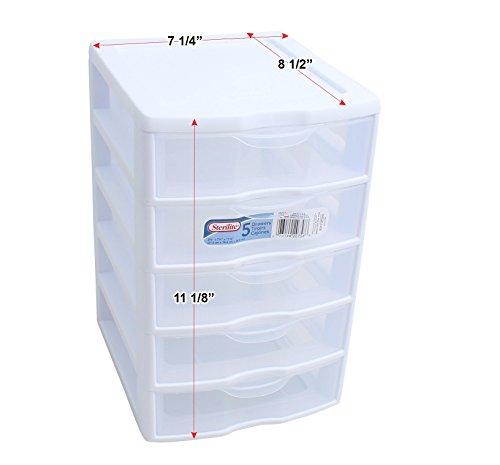 1) New Sterilite 20758004 Clearview Small 5 Drawer Desktop Storage Unit White