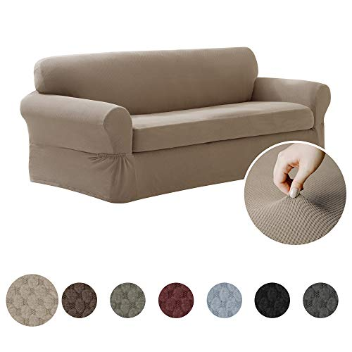 MAYTEX Pixel Ultra Soft Stretch Sofa Couch Furniture Cover Slipcover, Sand